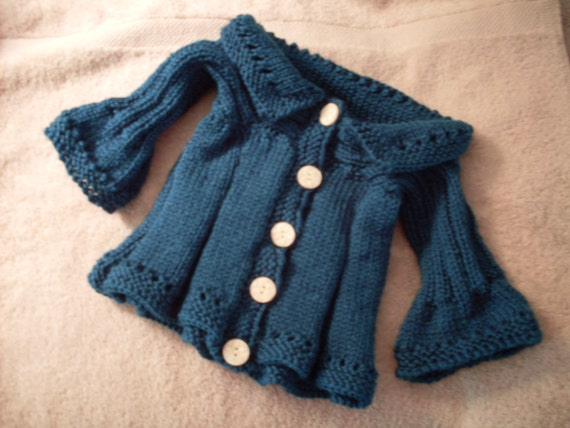 Hand knit Girl's Teal Swing Cardigan with button front