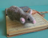 Lucy  Wool Needle Felted LITERARY MOUSE