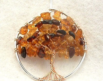 Wire wrapped Amber Tree of Life pendant