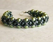 Bracelet, Green and Black Pearl with Sterling Silver Toggle Clasp, Handwoven, Peridot Green, Gunmetal Black
