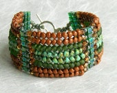Handwoven Cuff Bracelet, Turquoise, Green and Terra Cotta Glass