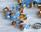 Bracelet, Smoky Quartz, Swarovski Crystal, Glass, Sterling Silver