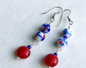 Earrings. Chinese Porcelain-Look Glass, Sterling Silver. Hypo-Allergenic.