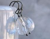 Earrings. Clear Faceted Glass Teardrops on Black Gunmetal Earwires