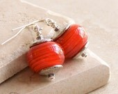 Earrings. Orange Glass with Silver-Plated Accents on Silver-Plated Earwires