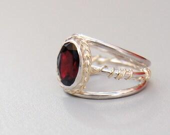 Sugar Plum Fairy Ring, Nutcracker Insprired: Sterling Silver, 14k Gold, and Garnet