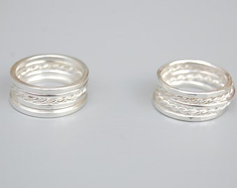 Silver Stacking Rings: Set of Five Rings