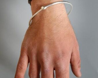 Silver Ouroboros Infinity Bangle: Men's Bracelet - Year of the Snake