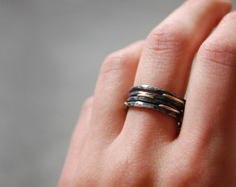 Black Nile Cleopatra Ring - Sterling Silver and 14k Gold