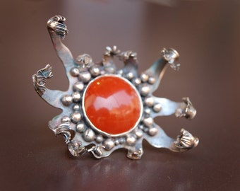 Carnivorous Plant No. 1: Sterling Silver and Red Jasper Ring