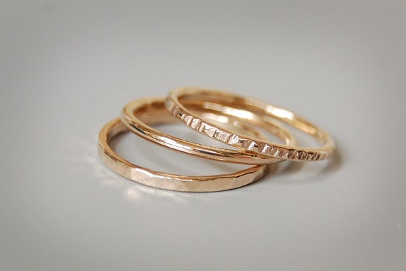 Golden Skinnies: Solid Gold Stacking Rings, Set of Three Rings in 14k, 18k, or 22k
