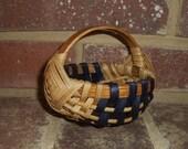 Handwoven Mini Melon Basket with Blue Accent