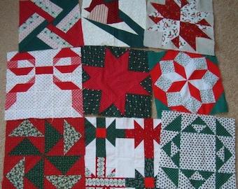 9 Patchwork Quilt Squares Christmas Fabrics Different Patterns