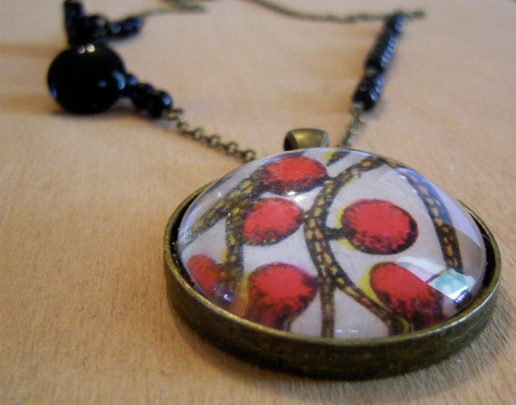 Pendant Necklace - Vintage Bright Scarlet Red Fruits and black beads