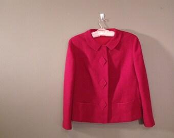 Vintage 1950's Cranberry Wool Jacket Blazer M/L