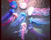 Felted Jellyfish- all swimming together 3 to a pod !