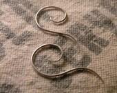 Spiral sterling silver earrings delicate classic classy sleek modern fancy wire hand forged handmade custom sharp dangle