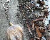 Real fox fur puff bullet shell keychain key chain red rust tan gray black white punk rustic tail taxidermy fashion mens womens purse charm