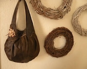 Asymmetrical round gathered shoulder bag purse brown clutch tote rustic leather earth tones OOAK distressed sleek floral modern textile