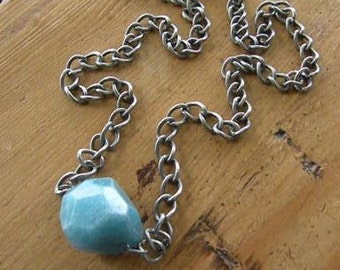 Blue crystal stone silver necklace blue turquoise aqua pendent rustic recycled metal freeform faceted agate heavy upcycled