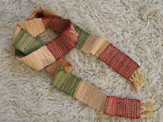 Woven fall autumn red green orange skinny scarf primitive rustic recycled upcycled necklace