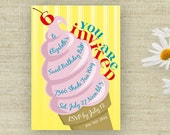 Ice Cream Birthday Party Invitation Printable Custom Personalized (Digital File)
