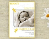 Buzzing Bee Birth Announcement Photo Printable Custom Personalized (Digital File)
