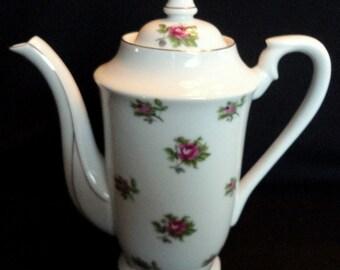 Vintage Porcelain Teapot Moss Rose Pattern
