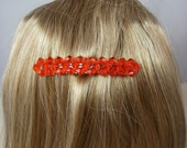 Orange Crystal Beaded Barrette Clip - Large