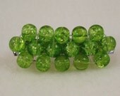 Green  Beaded Barrette