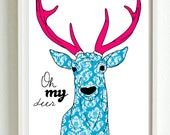 Oh my deer, victorian pattern - new designs A3 luxury poster print.