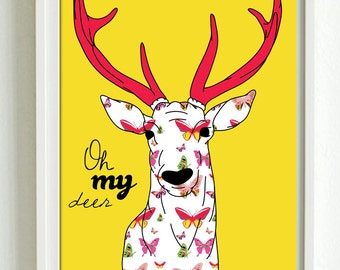 Oh my deer - new designs. Large A2 luxury poster print.