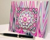 Pink, Light Blue and Grey Swirls Notecard