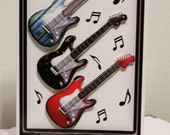 Red, Black and Blue Guitar Happy Birthday Card