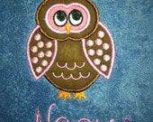 Clever little OWL  personalized bath towel  Makes A Great Gift