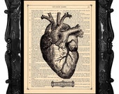 FREE SHIPPING WORLDWIDE BLACK HEART PRINT YOUR CHEATIN HEART 2 on a Vintage 1890 Book Page