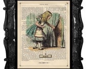 Antique Book print Alice in Wonderland Alice with Key print on Vintage Dictionary Book art