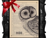 OUR ORIGINAL DESIGN AND CONCEPT FREE SHIPPING WORLDWIDE OWL PRINT OWL PEEPER on an Antique 1883 Book Page