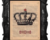 Queen Crown art print crown art crown on antique book page dictionary or music page crown art print