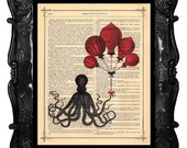 Upcycled Recycled Dictionary Page or Book Page Art Print Black Octopus and Red French Hot Air Balloons