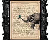 Elephant with birds home decor, elephant art print, housewares, elephant dictionary art, antique book page, ELEPHANT print dictionary paper