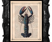 Blue Lobster Art Print on a antique book page nautical lobster art print