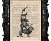Safari Animals art print - animal pyramid fun art print - elephant giraffe lion rhino on antique book page music page art print
