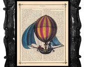 Upcycled Dictionary Page Upcycled Book Art Upcycled Art Print Upcycled Book Print Vintage Art Print Orange Hot Air Balloon 2