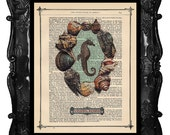Upcycled Dictionary Page Upcycled Book Art Upcycled Art Print Upcycled Book Print Vintage Art Print Seahorse Aquarium