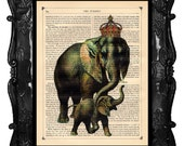 Mother's Day Gift - Elephant Mother and Baby art print - gifts for mom nursery decor Elephant art print on antique book page music art print