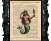 mermaid print - mermaid art print - vintage -  book page print - dictionary print - home decor - nautical decor