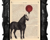 Balloon HORSE Vintage Art Print Antique Book Page or Dictionary Page Upcycled Recycled