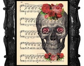 Skull Art Print Owl Eyes Antique Art Print Flowers Dictionary Art Print Anatomy Book Art Print Antique Music Sheet