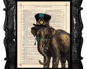 Antique Elephant Steampunk illustration beautifully upcycled dictionary page book clock art print